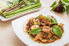 Spicy grilled pork salad (Moo Nam Tok), Thai food Stock Photo