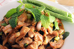 Spicy grilled pork salad (moo nam tok),Thai food Royalty Free Stock Images