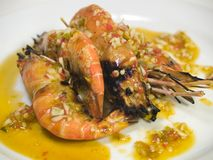 Spicy Grilled Prawns Royalty Free Stock Images