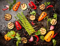 Spicy grilled vegetables royalty free stock images