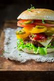 Spicy hamburger with beef, cheese and vegetables. Closeup of spicy hamburger with beef, cheese and vegetables Royalty Free Stock Image