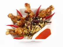 Spicy herb fried chicken wings Royalty Free Stock Images