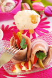 Spicy herring rolls with apple and gherkin for easter Royalty Free Stock Photos