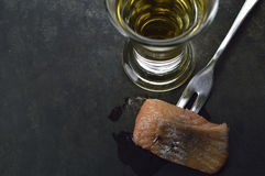 Spicy herring and schnapps Royalty Free Stock Photography