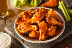 Spicy Homemade Buffalo Wings. With Dip and Beer royalty free stock image