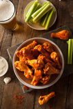 Spicy Homemade Buffalo Wings. With Dip and Beer stock photo