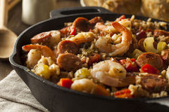 Spicy Homemade Cajun Jambalaya Stock Photos