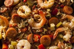 Spicy Homemade Cajun Jambalaya. With Sausage and Shrimp royalty free stock photos