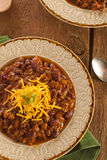 Spicy Homemade Chili Con Carne Soup Stock Photo