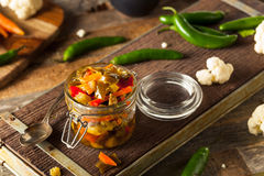 Spicy Homemade Pickled Giardiniera royalty free stock photo