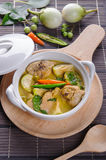 Spicy hot chicken green curry with coconut milk soup. In bowlthai foodselective focus Stock Photo