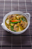 Spicy hot chicken green curry with coconut milk soup. In bowlthai foodselective focus Royalty Free Stock Photography