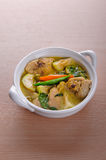 Spicy hot chicken green curry with coconut milk soup. In bowlthai foodselective focus Royalty Free Stock Photos