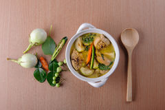 Spicy hot chicken green curry with coconut milk soup. In bowlthai foodselective focus Royalty Free Stock Images