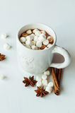 Spicy hot cocoa with marshmallows. In a white mug on a white background Royalty Free Stock Photography