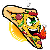 Spicy hot pizza character. A spicy hot pepper pizza slice character Royalty Free Stock Photography