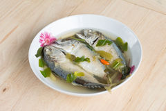 Spicy hot and sour soup with mackerel fish Stock Photo