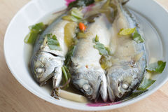 Spicy hot and sour soup with mackerel fish Royalty Free Stock Photos