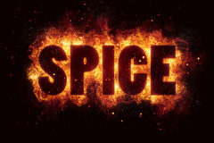 Spicy hot spice text on fire flames explosion burning Stock Images