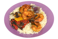 Spicy Hot Tandoori King Prawns with Rice Royalty Free Stock Images