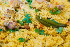 Spicy Indian Chicken Biryani Dinner royalty free stock images