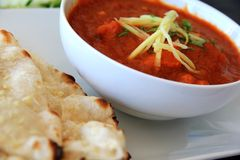 Spicy Indian Curry : Lamb Masala with Naan Royalty Free Stock Photo
