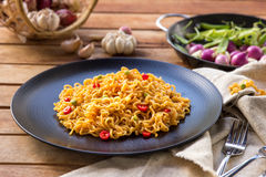 Spicy indonesian fried noodle ready to eat Royalty Free Stock Image