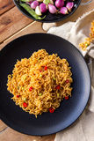 Spicy indonesian fried noodle ready to eat Royalty Free Stock Images