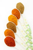Spicy ingredients arranged on the spoon Royalty Free Stock Photography