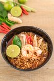 Spicy instant noodles soup with shrimp Royalty Free Stock Image