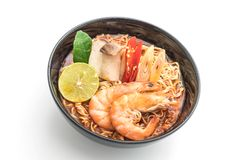 Spicy instant noodles soup with shrimp Stock Images