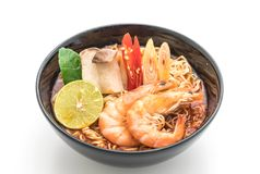 Spicy instant noodles soup with shrimp Stock Image