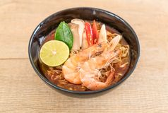 Spicy instant noodles soup with shrimp Stock Photos