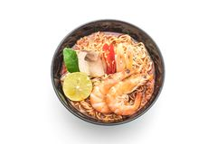 Spicy instant noodles soup with shrimp Royalty Free Stock Photo