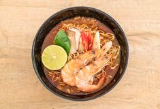 Spicy instant noodles soup with shrimp. (tom yum Royalty Free Stock Images