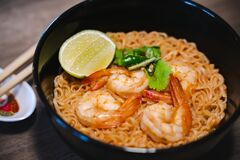 Spicy Instant Thai Style Noodles Soup With Shrimp Tom Yum Kung Royalty Free Stock Image