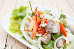 Spicy intestines pork salad with vegetable Royalty Free Stock Photos