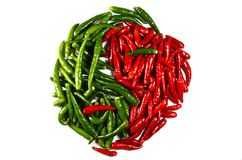 Spicy in-jan. Symbol. spicy chili in-jan isolated on white Royalty Free Stock Image