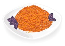 Spicy Korean carrot salad. Basil leaves decorate. Delicious, fresh food. Vector illustration royalty free illustration