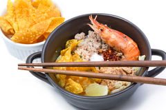 Spicy lemongrass flavored flat noodles with shrimp Royalty Free Stock Photo