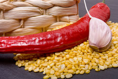 Spicy Lentils ingredients Stock Photos