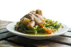 Spicy lentils salad (somtam) and Pried Pork, famous Thai food is Stock Photo