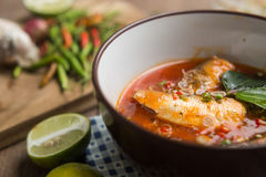 Spicy mackerels salad in tomato sauce royalty free stock image