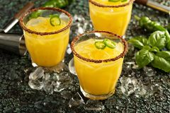 Spicy mango margaritas with hot pepper. Refreshing spicy mango margaritas with hot pepper Royalty Free Stock Photos