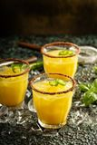 Spicy mango margaritas with hot pepper. Refreshing spicy mango margaritas with hot pepper Royalty Free Stock Images