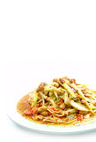 Spicy mango salad. With vegetable and chili Stock Image