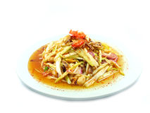 A spicy mango salad with vegetable and chili. Mango salad a delicious and famous vegetable appetizer from thailand Stock Photos