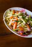 Mango Som Tam salad. Spicy mango Som Tam salad. Picture of traditional thai cuisine made of fresh ingredients royalty free stock photos