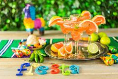Spicy margarita. Spicy grapefruit margarita on ice in margarita glasses on the table in the garden royalty free stock photos