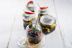Spicy marinated olives Stock Image